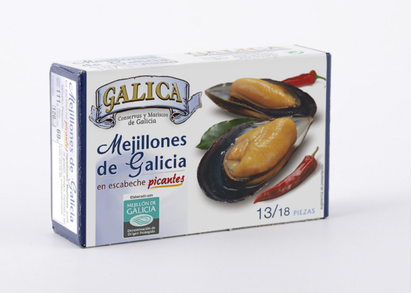 Mejillones en escabeche picante 13/18 unidades